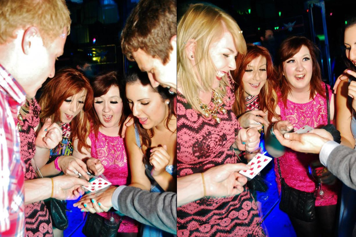 Street Magician Liam Walsh performing close up magic at ONE CLUB in Worthing