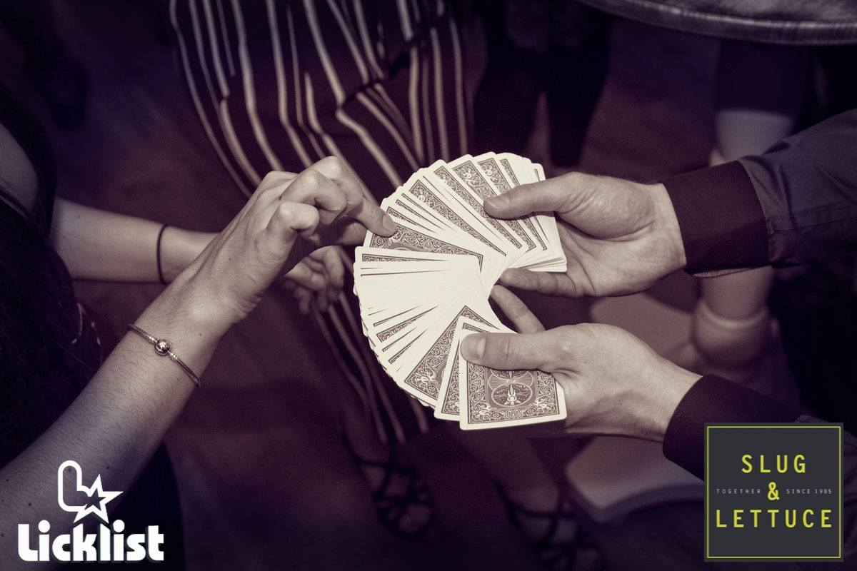Street Magician Liam Walsh performing close up magic at Slug and Lettuce in Worthing